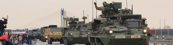 Průjezd amerického konvoje u Bohumína