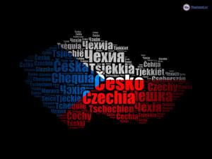 Motivy na tričko s názvy naší země v různých jazycích.