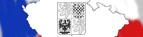 Mapa Česka s vlajkou a znakem