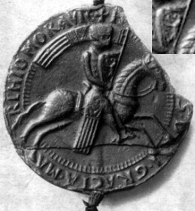 První doložené vyobrazení českého lva (1203) (vpravo nahoře detail lva)