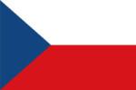 Původní návrh československé vlajky s klínem zasahující do 1/3 vlajky.