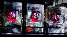Národní hokejové dresy na Václavském náměstí