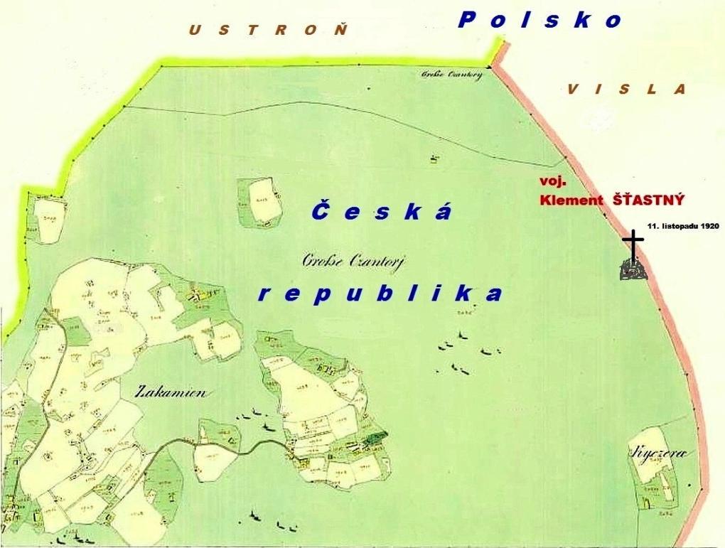 mapka mista kde byl voj.K.Stastny zavrazden