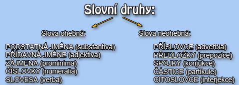 Slovní druhy v češtině.