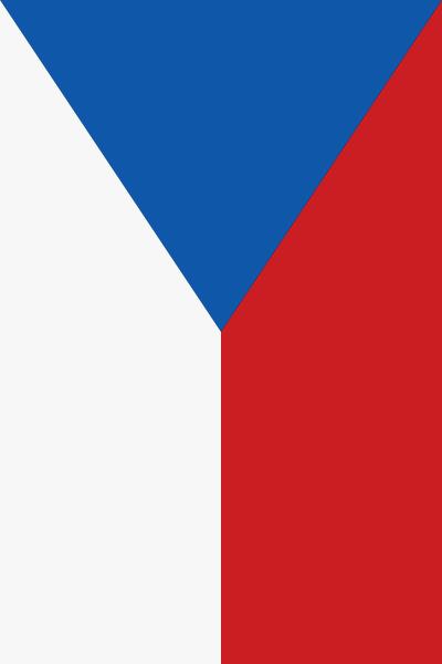 Česká vlajka svisle: Bílá vlevo, červená vpravo, modrý klín nahoře.